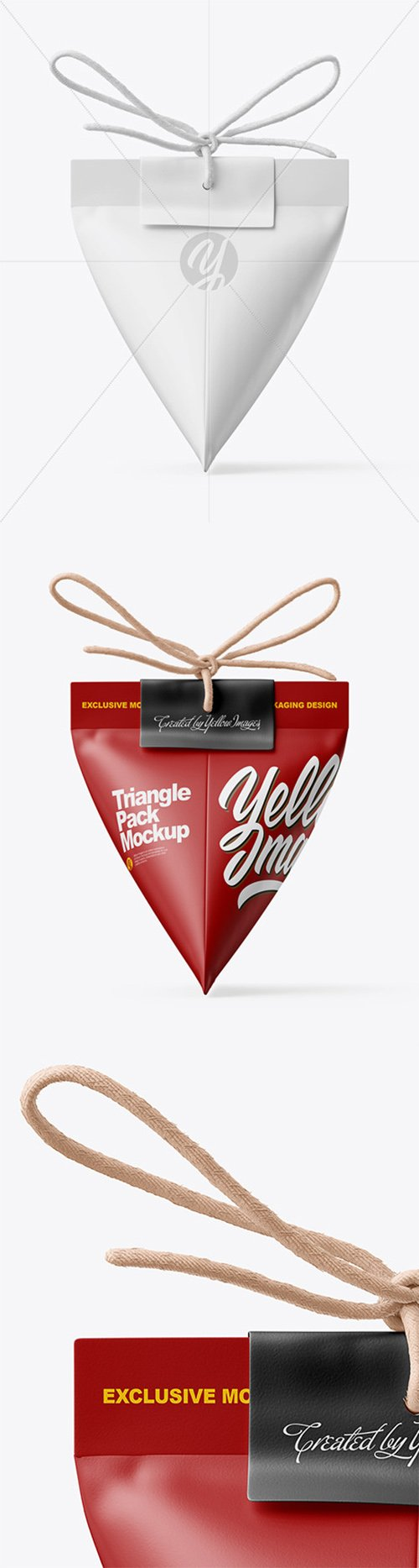 Triangle Matte Paper Packaging With Rope Bow Mockup 64559