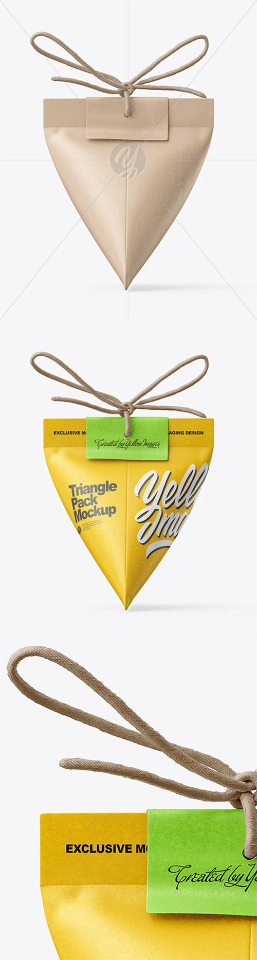 Triangle Kraft Paper Pack With Rope Bow Mockup 64556