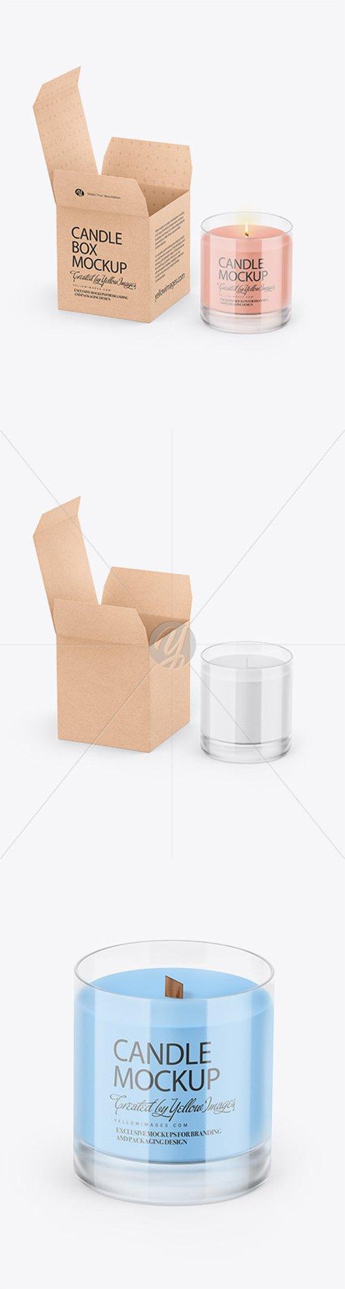 Candle W/ Kraft Box Mockup 64678
