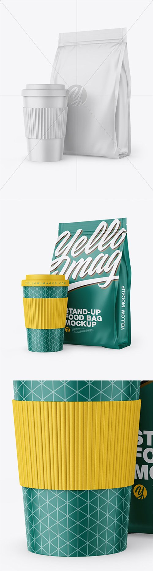 Matte Stand-Up Bag with Coffee Cup Mockup 64586