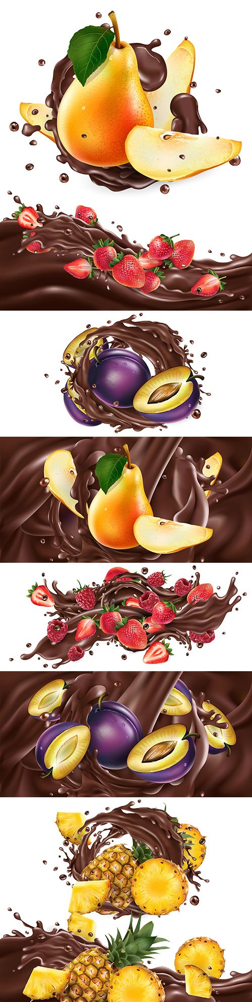 Whole and chopped fruit in chocolate splash realistic illustrations