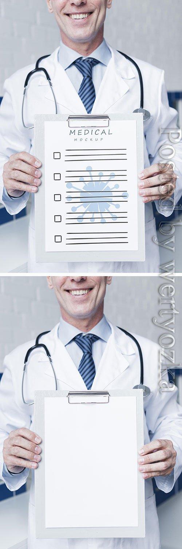 Smiley doctor holding a medical paper mock-up