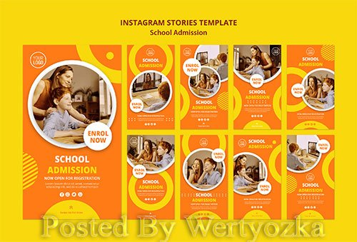 School admission concept instagram stories template