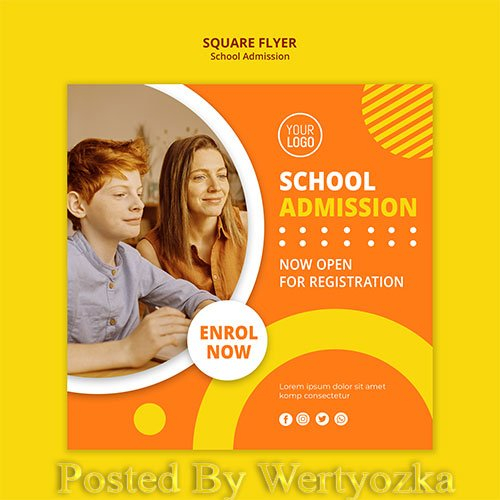 School admission concept square template