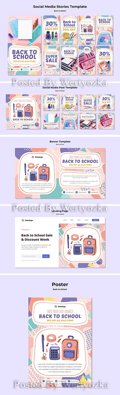 Back to school poster, back to school social media post