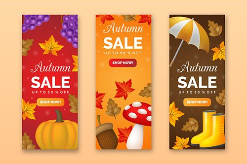 Realistic autumn sale banners