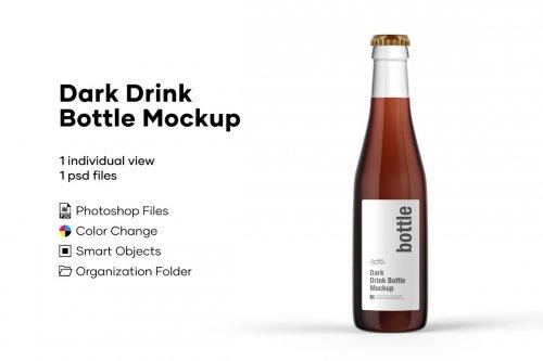 CreativeMarket - Dark Drink Bottle Mockup 5276740