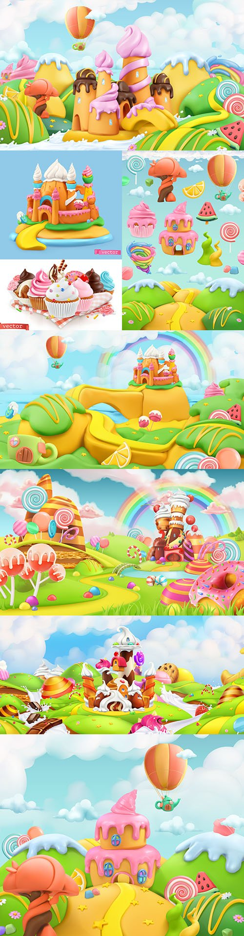 Sweet candy landscape of plasticine 3d realistic illustrations