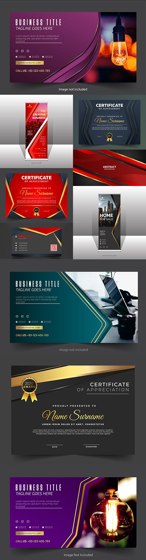 Professional and elegant business banner with certification and background