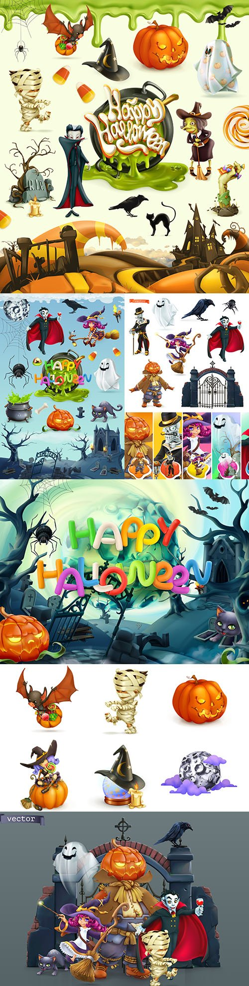 Happy Halloween and cartoon heroes 3rd realistic illustrations