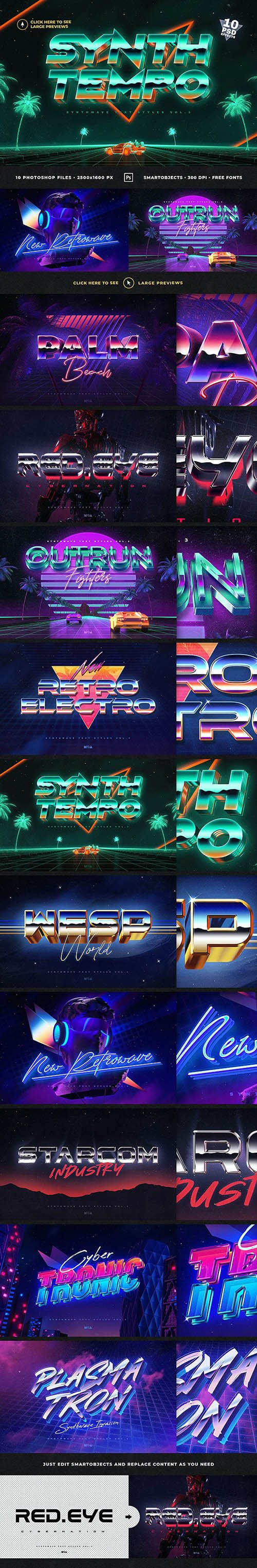 GraphicRiver - 80`s Retro Text Effects vol.3 Synthwave Retrowave 27064939