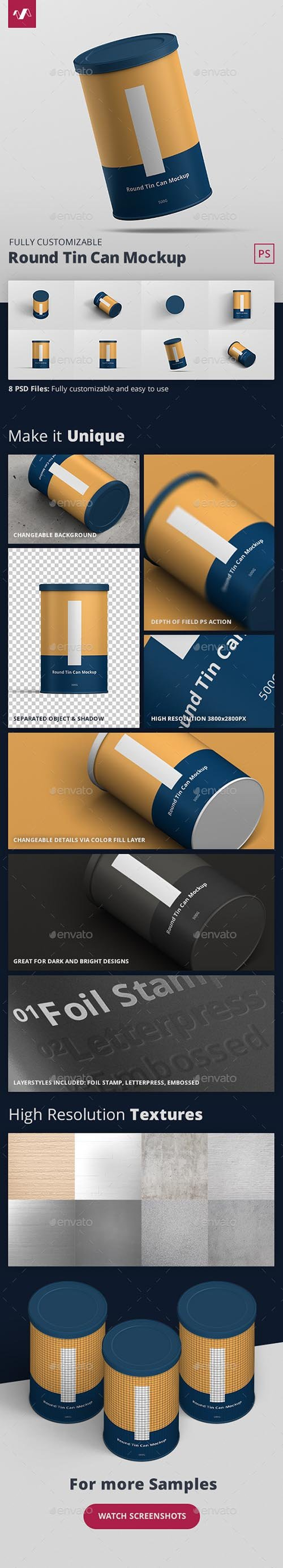 GraphicRiver - Tin Can Mockup Round 27704131