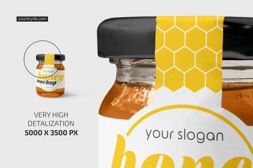 CreativeMarket - Glass Jar with Honey Mockup Set 5276530