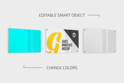 CreativeMarket - Rectangular Glass Nameplate Mockup Set 5269985