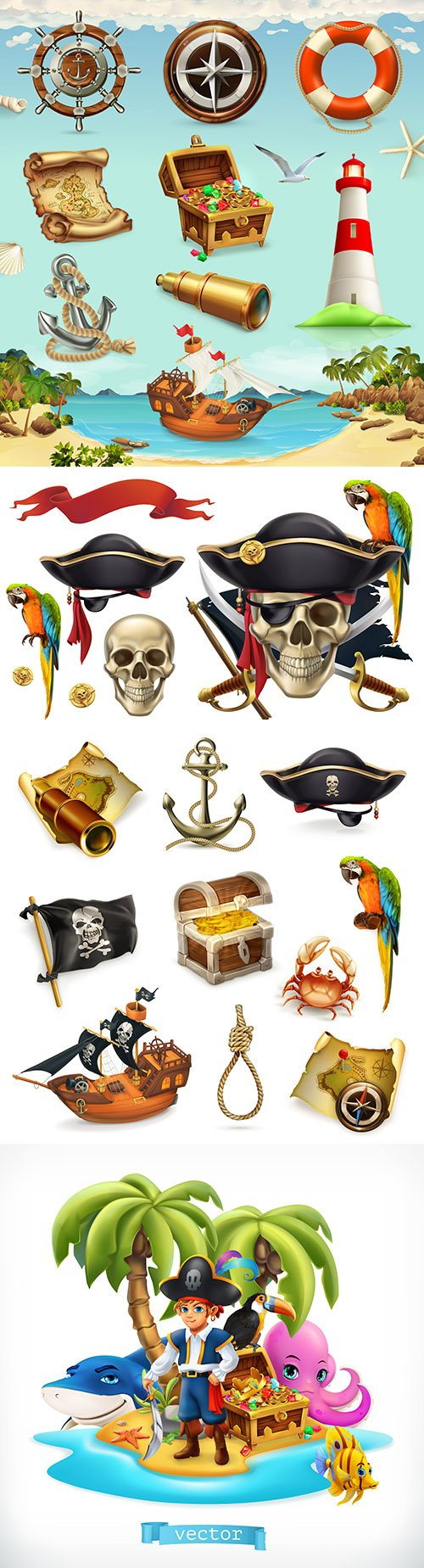 Sea adventure and pirate set vintage items 3d illustration