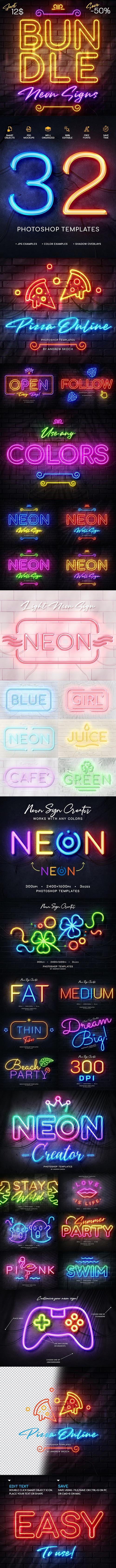 GraphicRiver - Wall Neon Signs Bundle 28112439