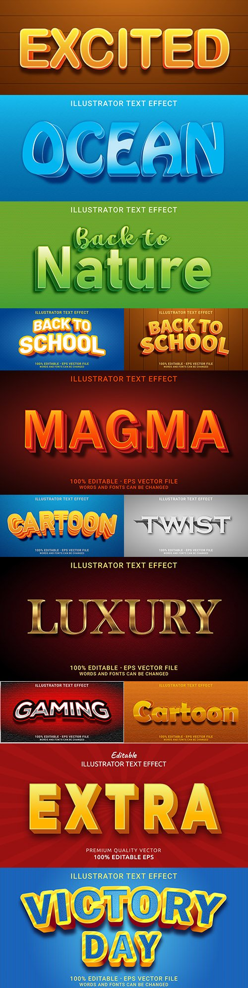 Editable font effect text collection illustration design 174