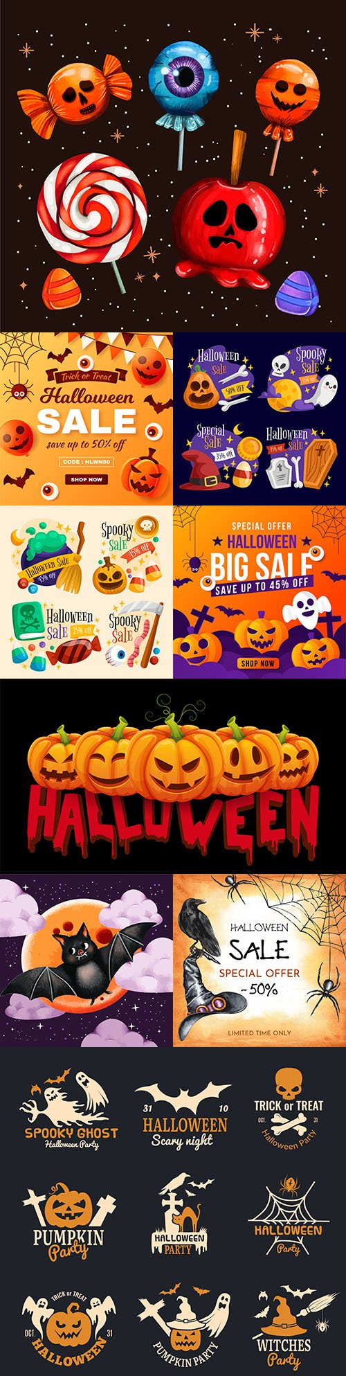 Happy Halloween holiday banner illustration collection 4