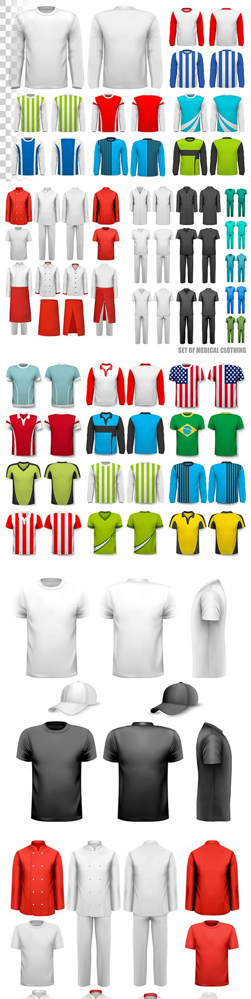 Men's shirts with sleeve and uniform kit design template