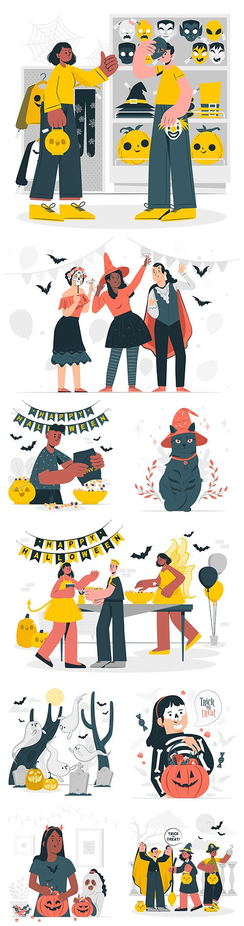 Halloween party flat design illustrations