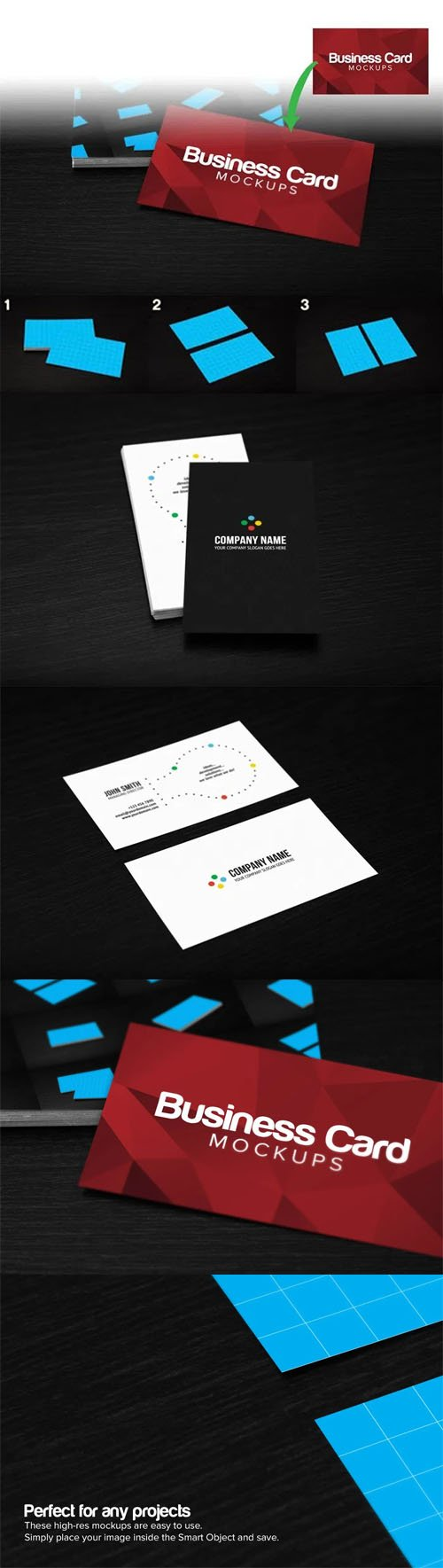 3 Business Cards PSD Mockups