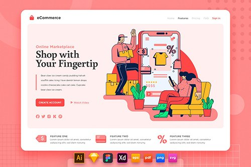 Landing Page V.19 Ecommerce - Online Shopping
