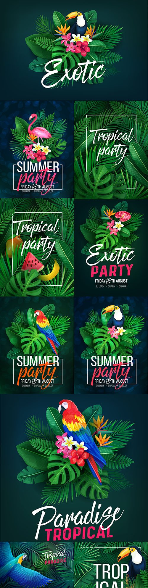 Summer tropical party bright design illustration