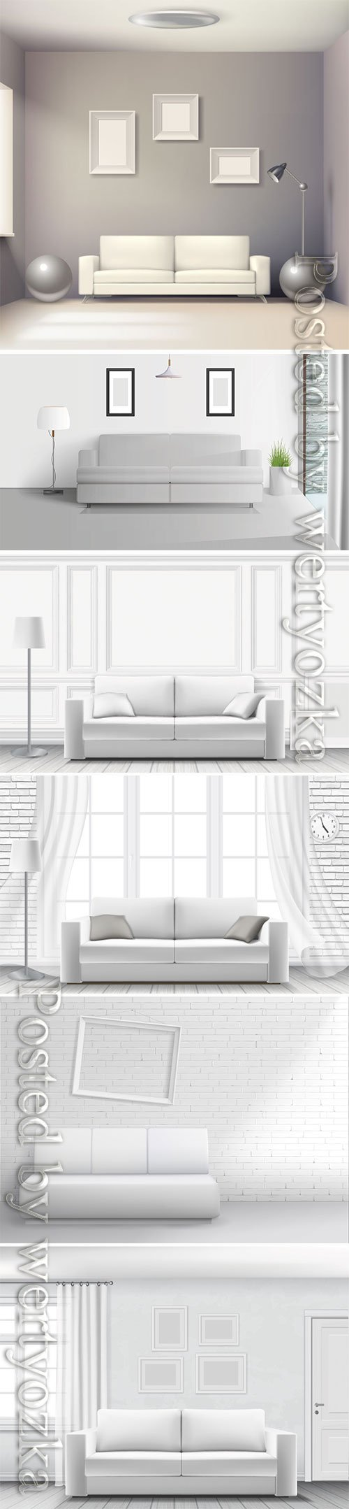 Realistic home interior vector template # 4