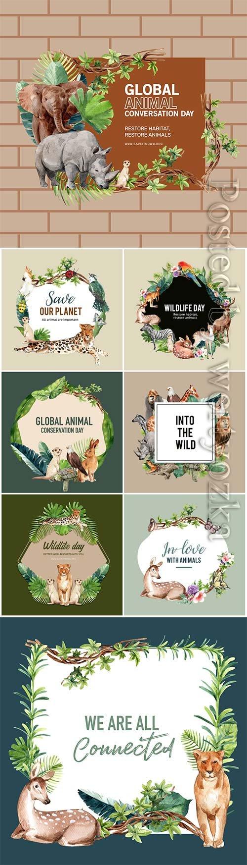 Zoo wreath design with eagle, gorilla, giraffe, rhino watercolor illustration
