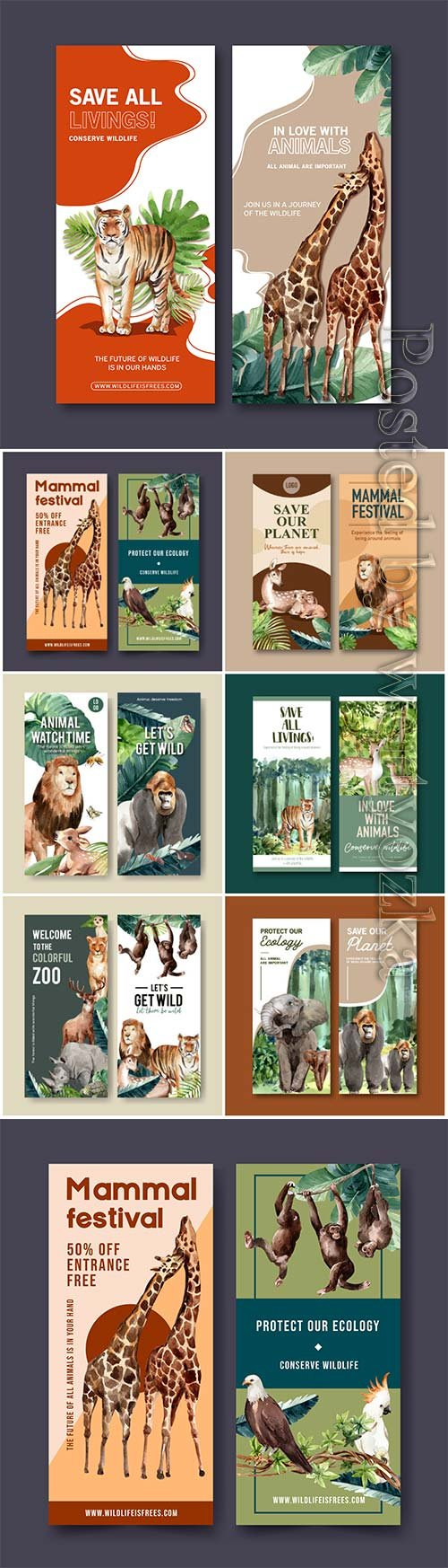 Zoo flyer design with elephant, gorilla watercolor illustration