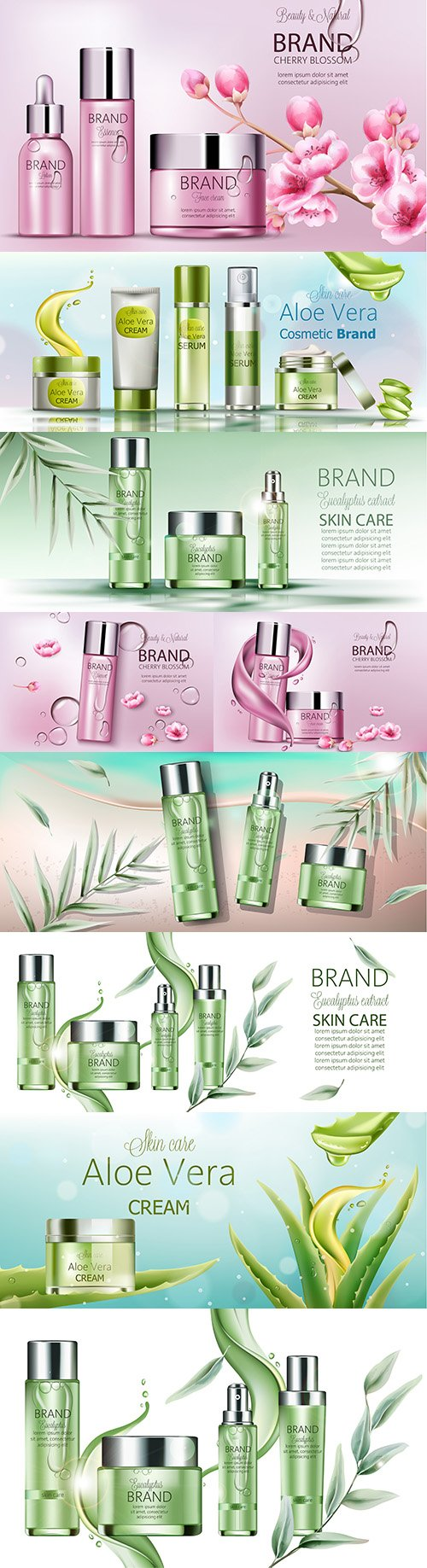 Body cosmetics set Brand name with place for text 3d illustration 3