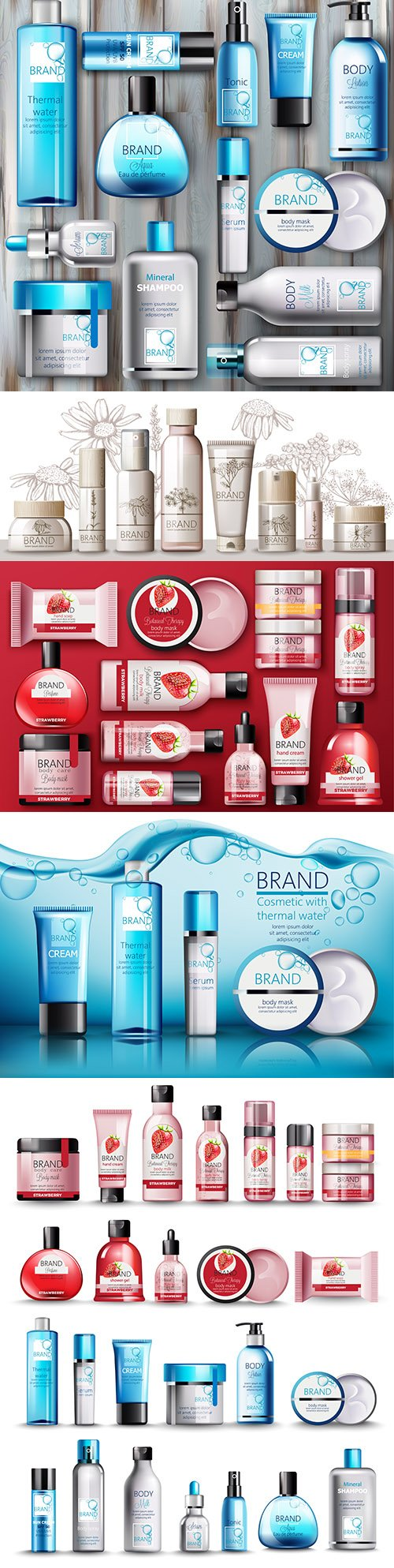 Body cosmetics set Brand name with place for text 3d illustration 2