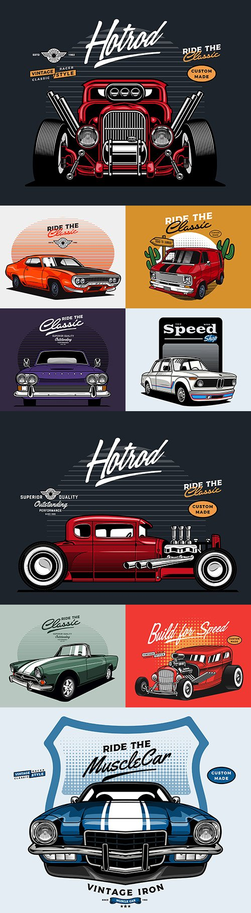 Retro car brand collection illustrations