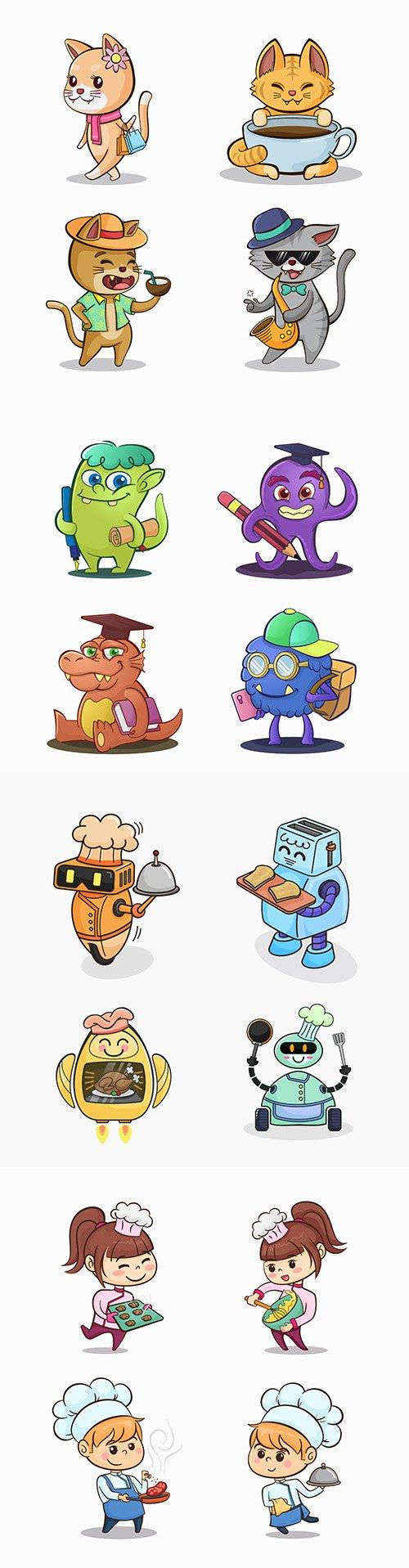 Funny cartoon characters drawn design illustrations