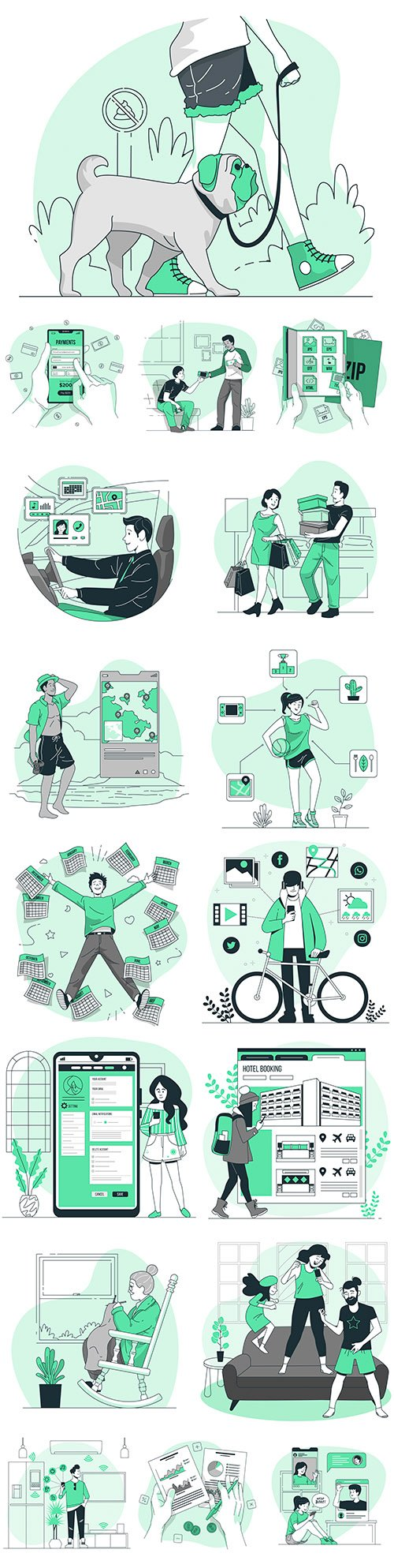 People in different situations and lifestyle flat design