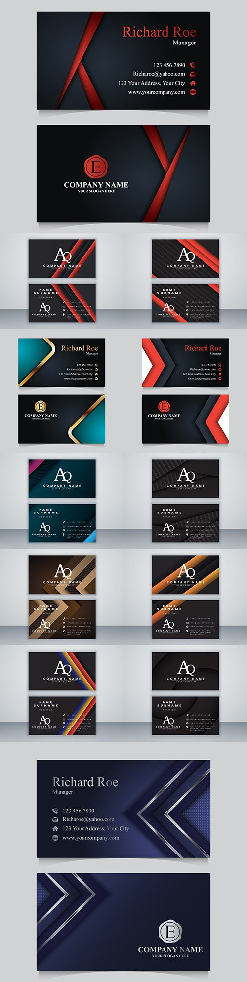 Business card template design on dark background 2