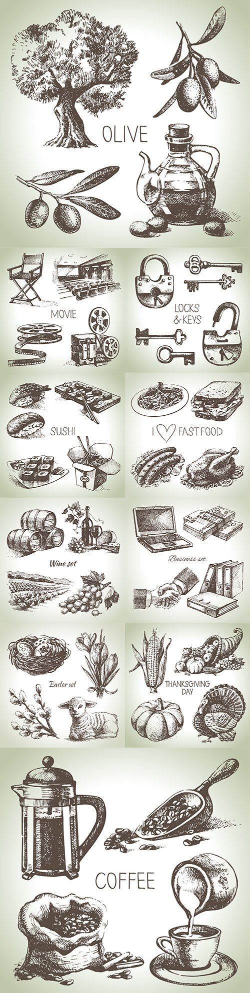 Various hand-drawn illustrations in the engraving style