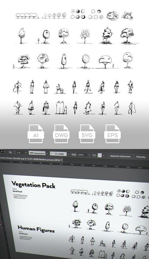 Hand-Sketched Vector Pack - Vegetation & Human Figures (+AutoCAD drawing DWG)
