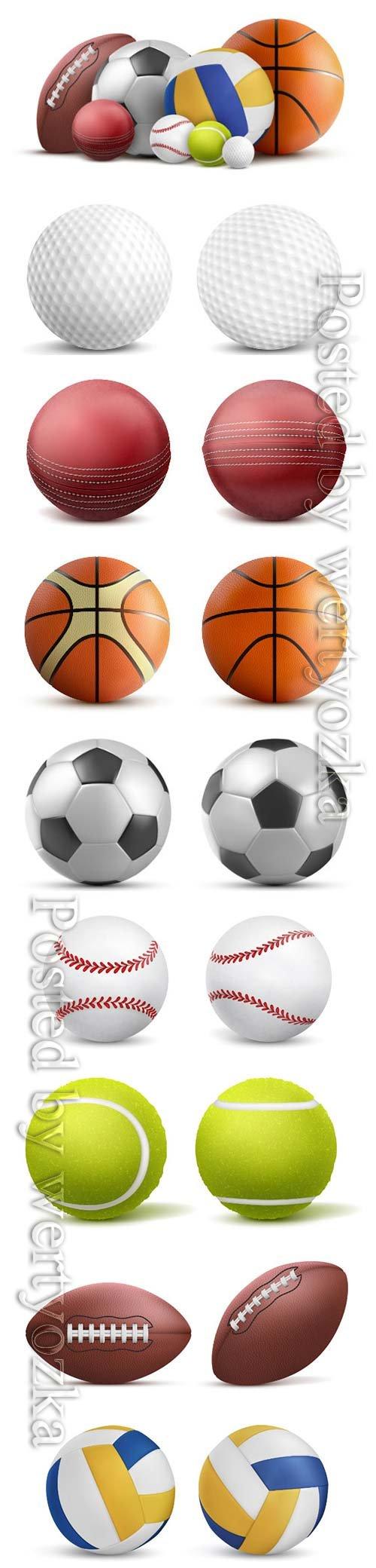 Sports balls, soccer, volleyball, baseball, tennis, golf, rugby vector template design