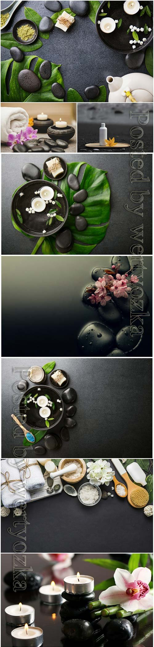 Spa backgrounds with orchids and spa stones