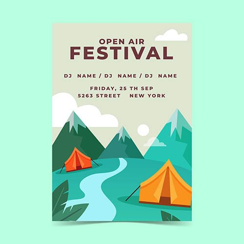 Open air music festival poster template with mountains