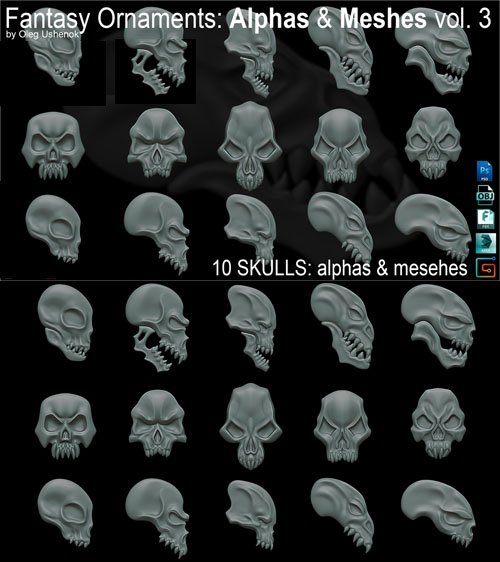 Fantasy Ornaments - 10 Skulls - Alphas & Meshes Vol.3