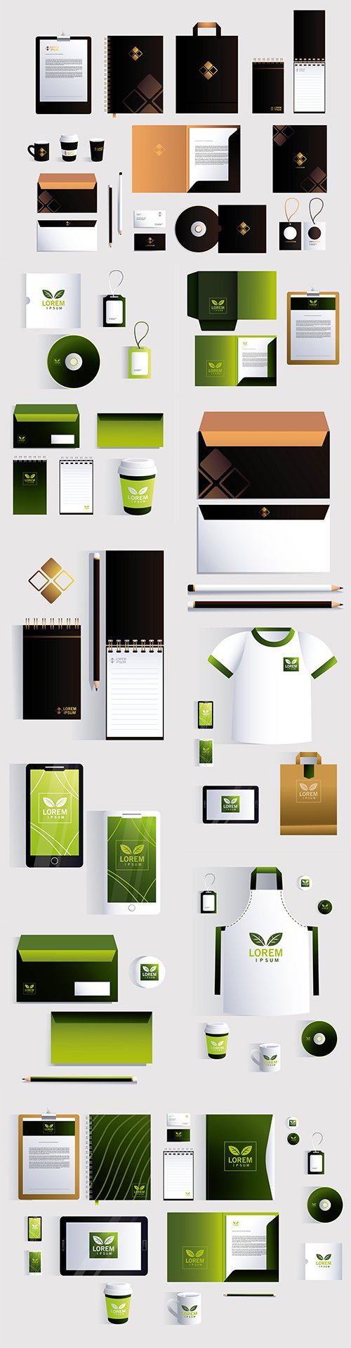 Branded style template of stationery with gold design mark
