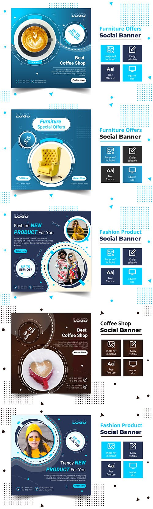 Fashion product offers post square banner template