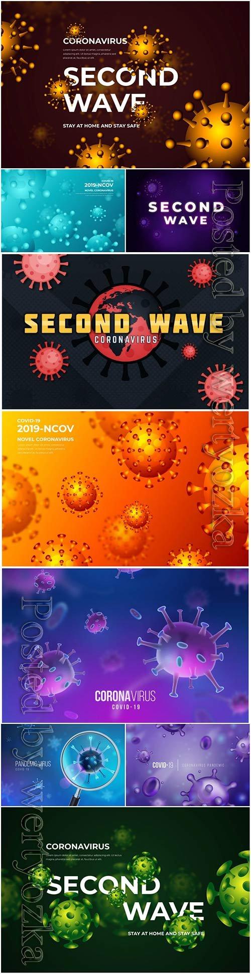 Realistic coronavirus vector background, stop covid-19 vol 7