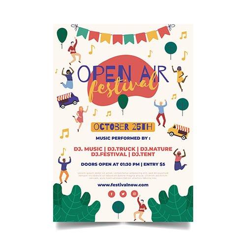 Open air music festival template flyer