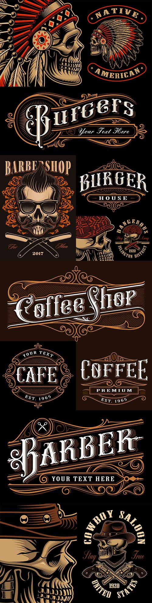Vintage emblems and logos with lettering design 5