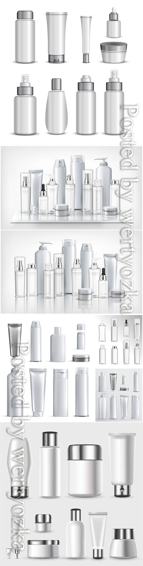 Set of cosmetics plastic bottles