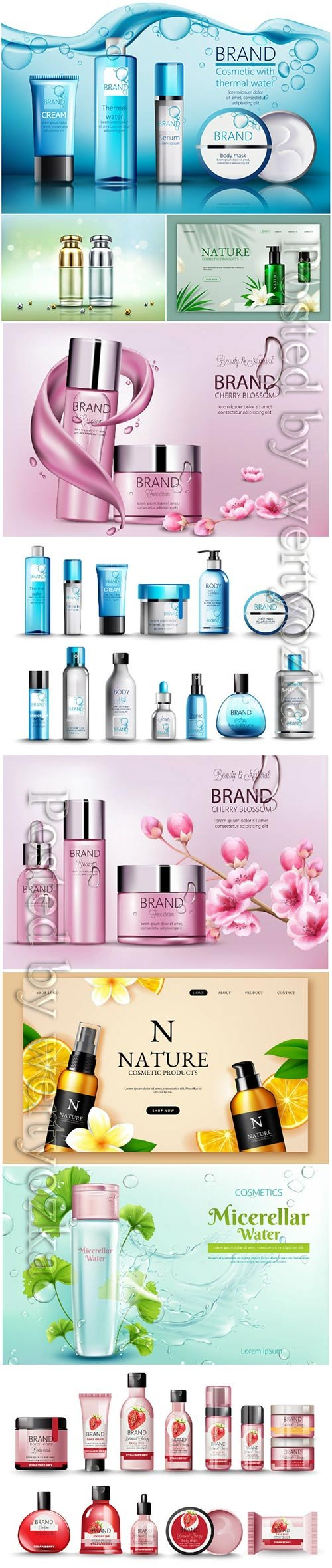 Realistic cosmetic products advertising vector template