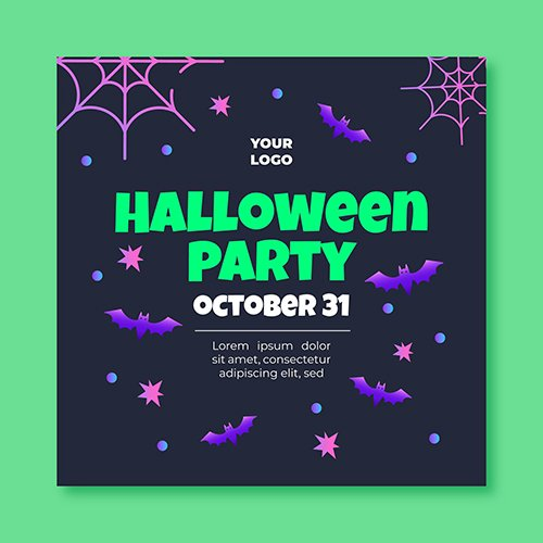 Halloween squared flyer template